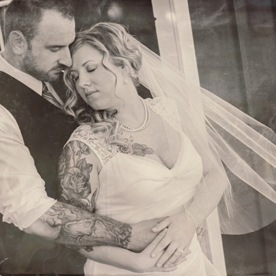 tattoo bride and groom, black and white, bluefin bay, two harbors, mn