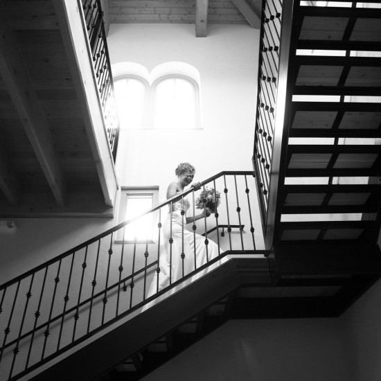 staircase, bride, anticipation