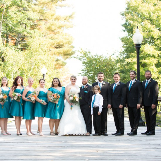 wedding party, teal and black, bayfield wi