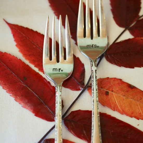mr and mrs fork, serving ware, personalized